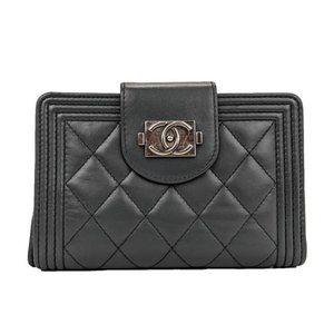 Chanel Grey Lambskin L Zip Boy Wallet